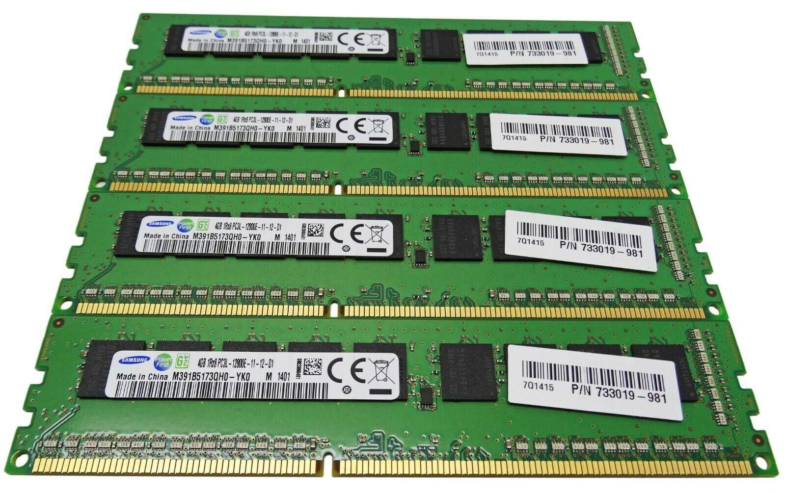 Samsung 16GB (4 x 4GB) 1Rx8 PC3L-12800E DDR3-1600MHz M391B5173QH0-YK0