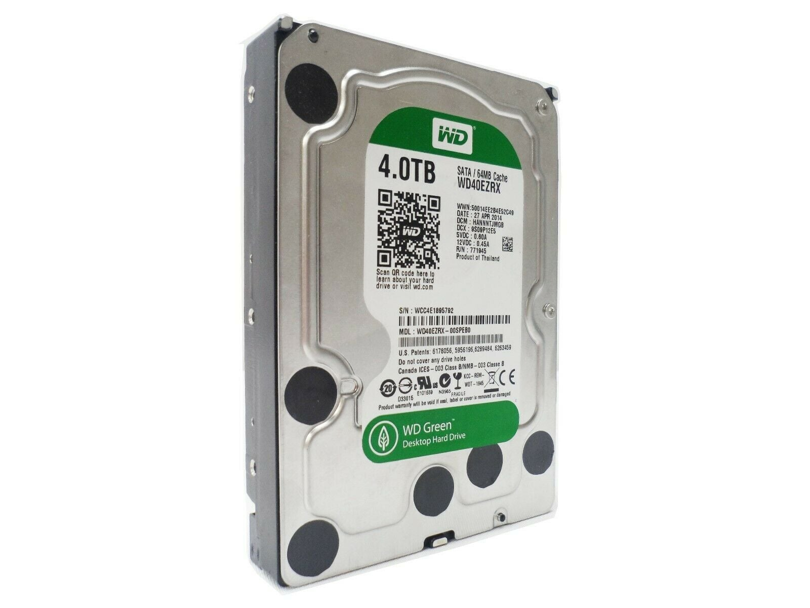 WD Western Digital Green 4TB 3.5 5.400RPM SATA 64MB HDD WD40EZRX-00SPEB0
